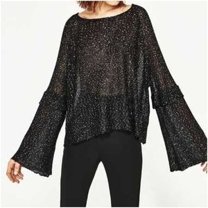 Zara Sequined Bell Sleeve Sweater